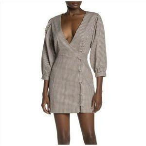 Tularosa Tan Gingham Wrap Hunter Dress